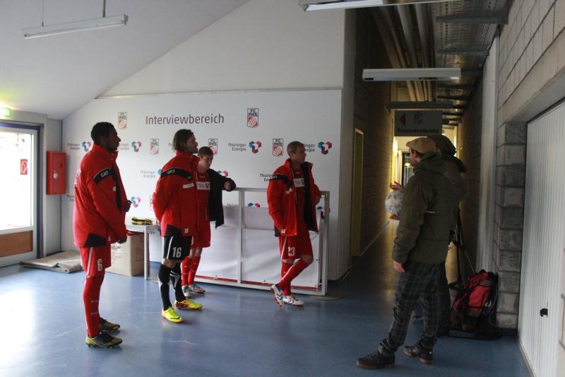 Spieler der 1. Mannschaften bei Videodreh in den Katakomben im Steigerwaldstadion. Foto: Markus Wiefel
