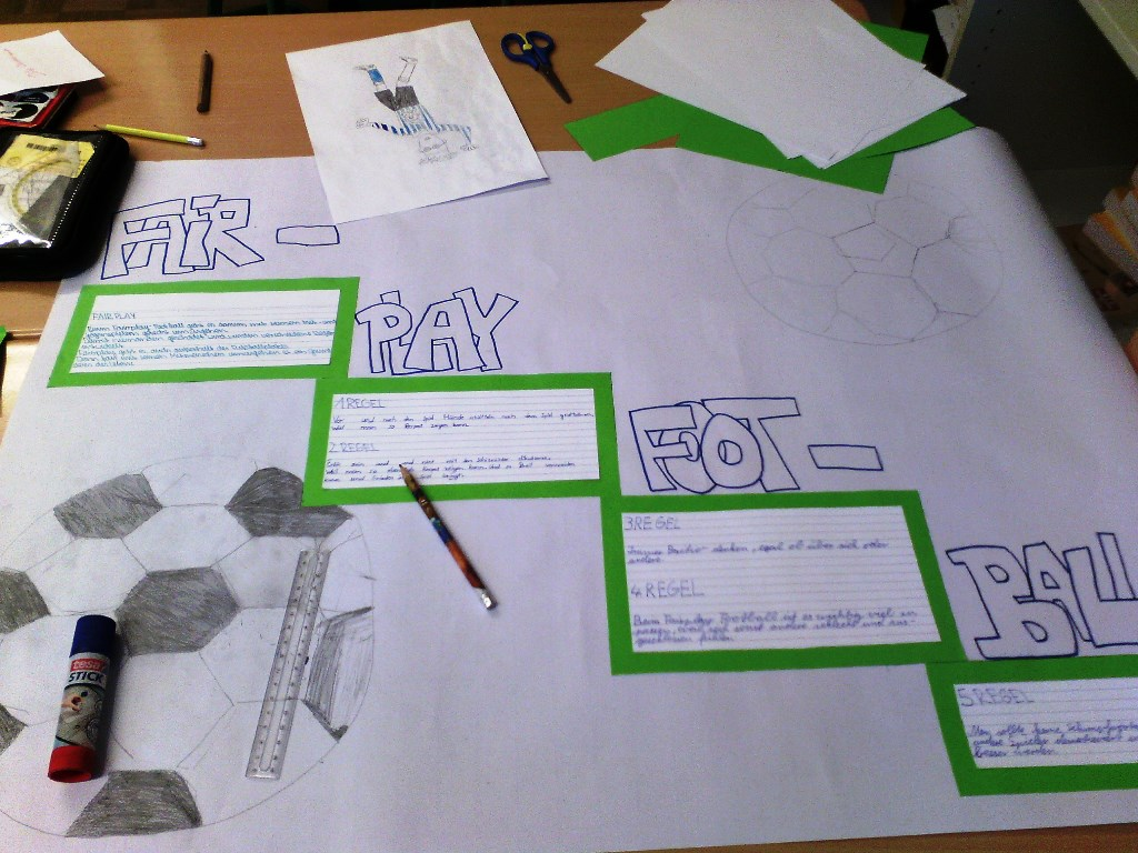 Kreative Plakatgestaltung über FairPlay-Regeln. Foto: SoF