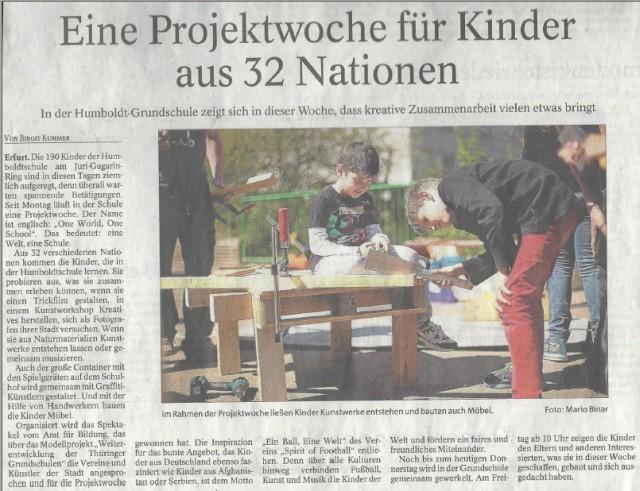 Artikel Eine Projektwoche für Kinder aus 32 Nationen