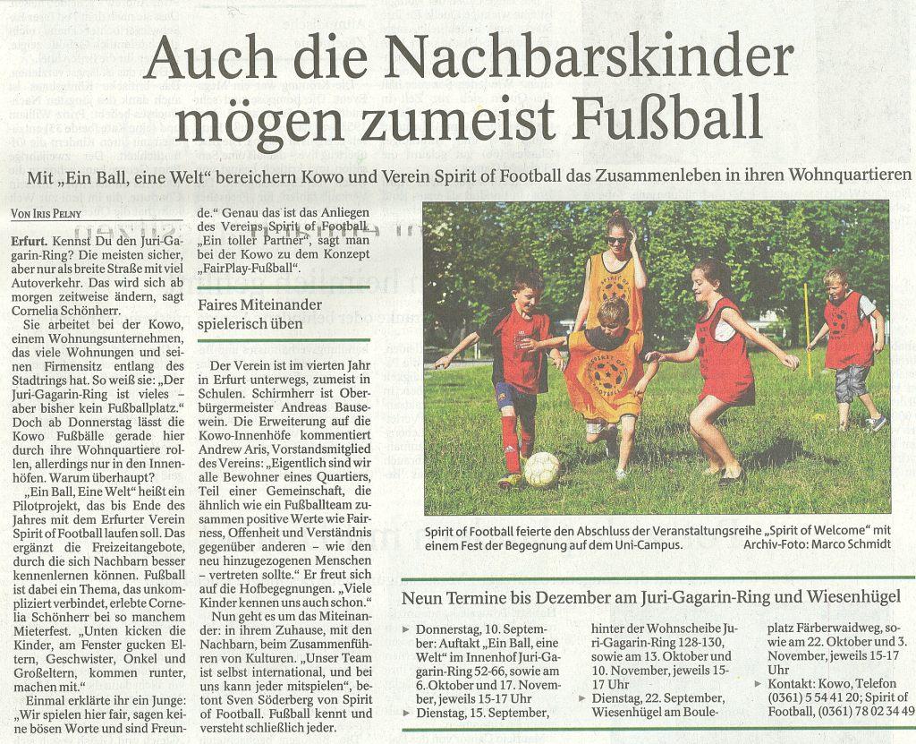 Auch die Nachbarskinder mögen zumeist Fußball mit Spirit of Football und der KOWO