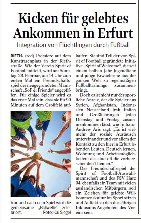 Kicken für gelebtes Ankommen in Erfurt - Spirit of Inclusion