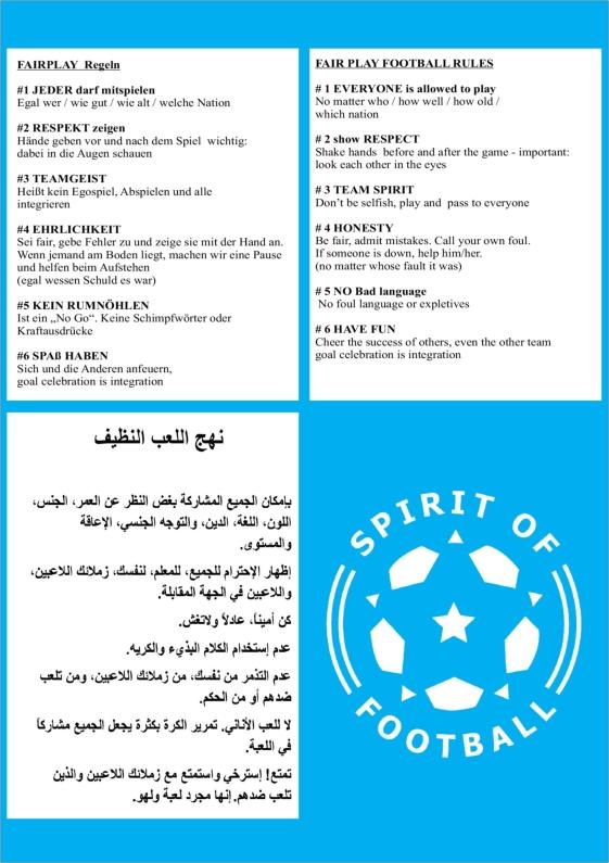 Spirit of Footballs FairPlay Regeln auf englisch arabisch und deutsch