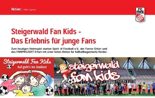 Artikel über die Steigerwald Fan Kids zum Spiel Rot-Weiß Erfurt gegen Hansa Rostock