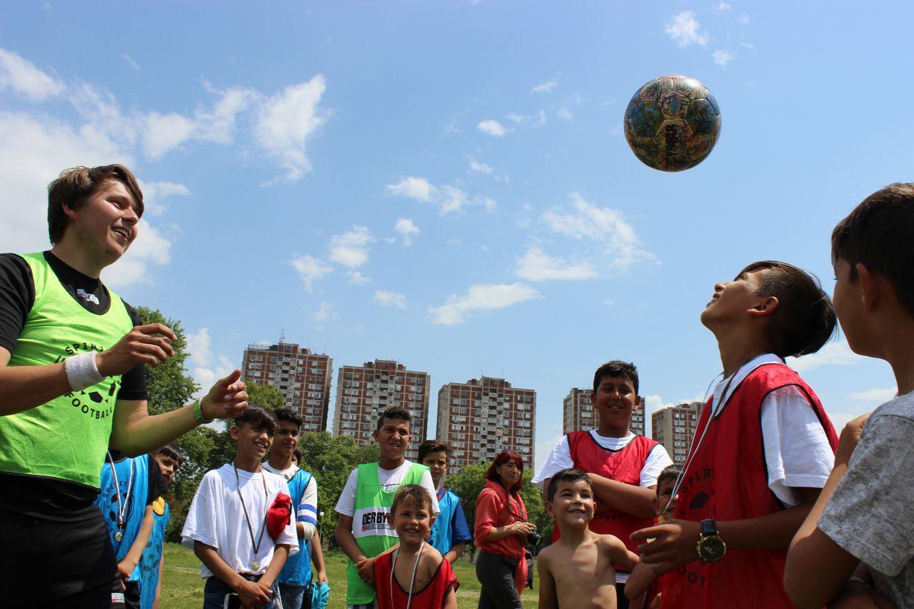 In Plovdiv, Bulgarien mit Roma Kids