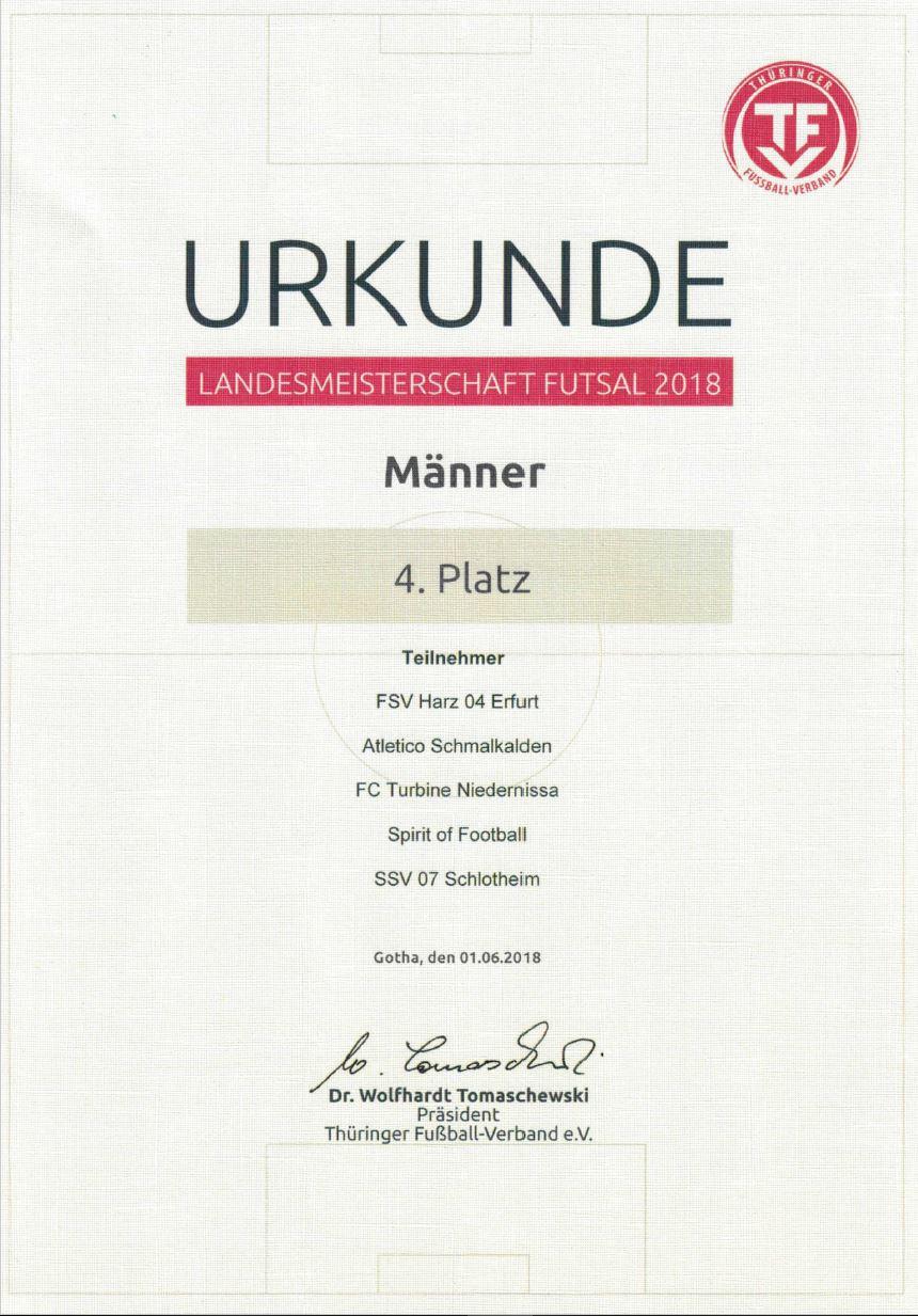 Landesmeisterschaft Futsal 2018, TFV, Erfurt, Futsal, Spirit of Football