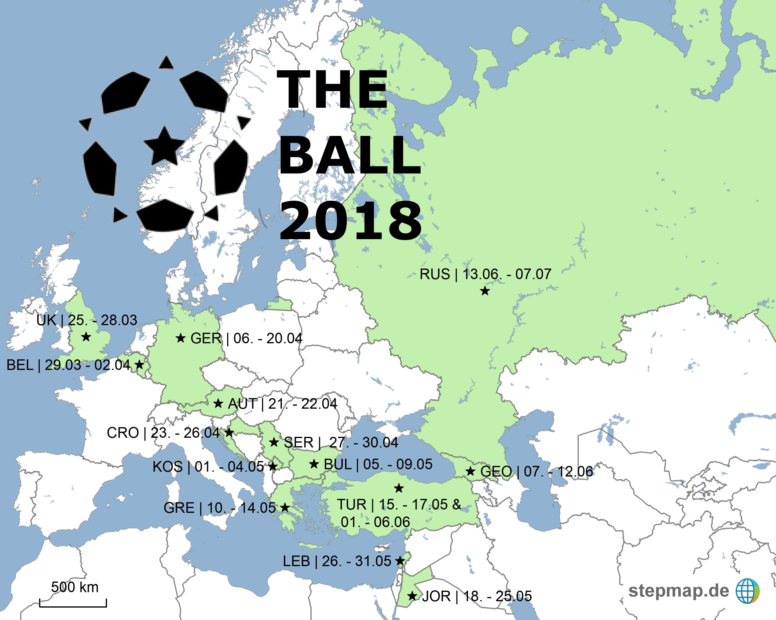 The Ball 2018 auf seinem Weg von London nach Moskau